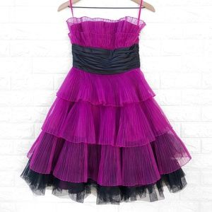 Betsey Johnson Crinkle Chiffon Strapless Dress